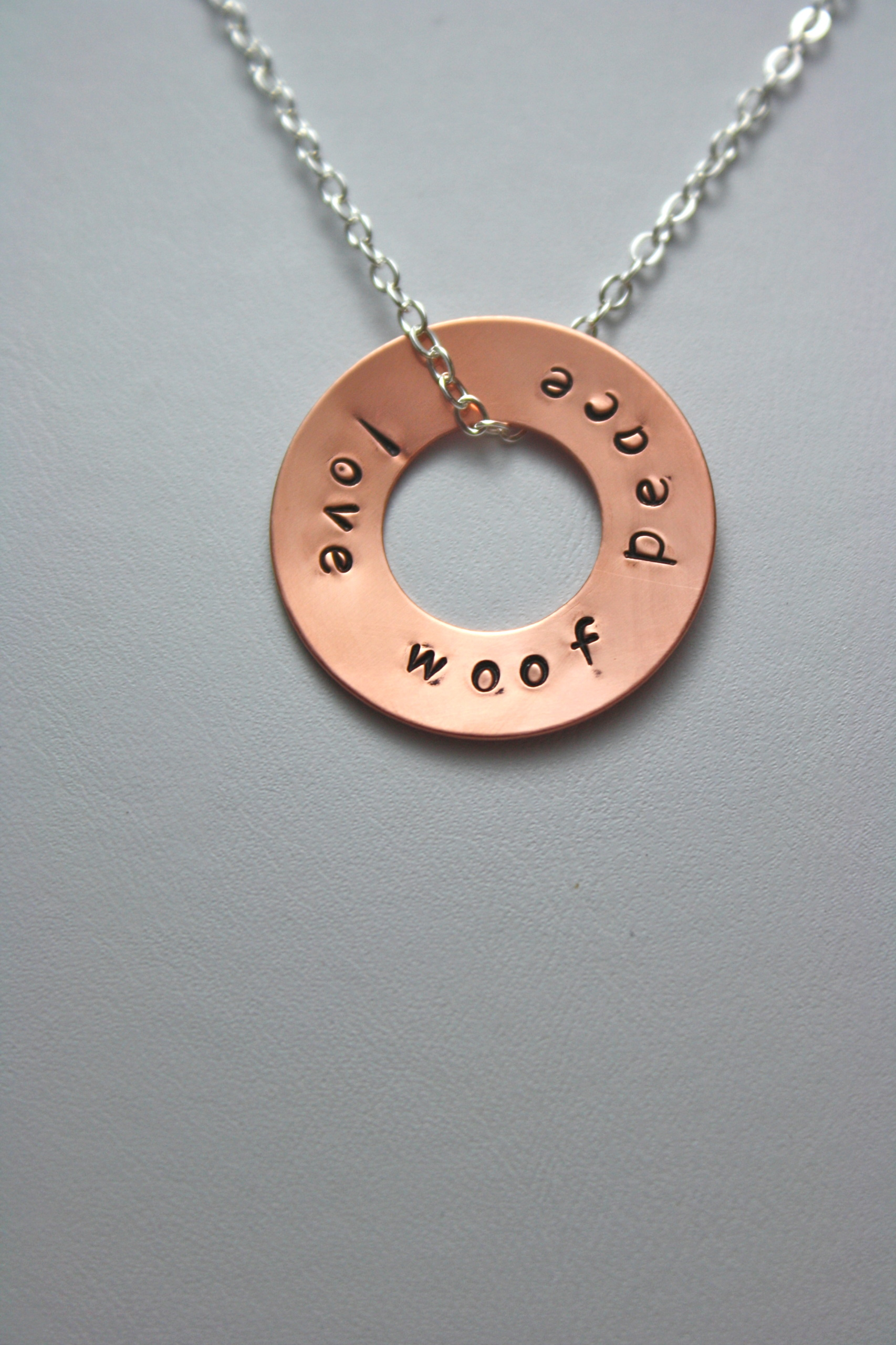 woof copper on store washer necklace sterling love chain peace dog lover